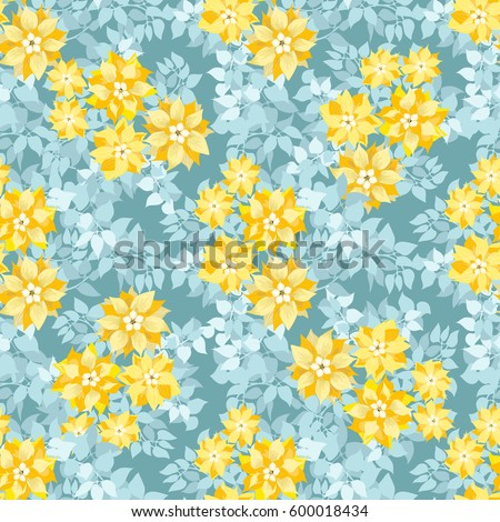 Seamless gorgeous pattern cute yellow flowers stock vector royalty seamless gorgeous pattern in cute yellow flowers of clematis floral exotic aqua background for textile mightylinksfo