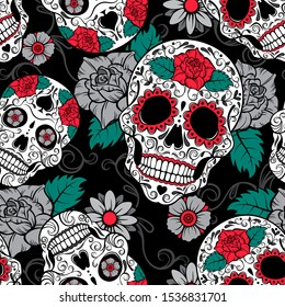 Seamless Gothic vector pattern with skulls on black background. Day of the dead.
