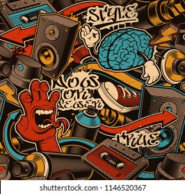 Seamless Graffiti background. Colorful seamless pattern with doodle art.