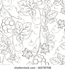 Seamless grape pattern black and white. Vector illustration.