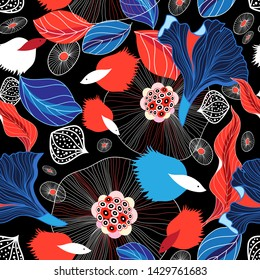Seamless graphic abstract pattern with fishes against dark background. Sample for poster design, postcard or web page.