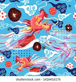 Seamless graphic bright chinese pattern with red dragon and clouds on blue background