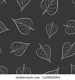 Seamless graphic design with hand drawn leaves. Fashion, interior, wrapping, packaging suitable. Repeat pattern of black and white lilac leaf isolated on black