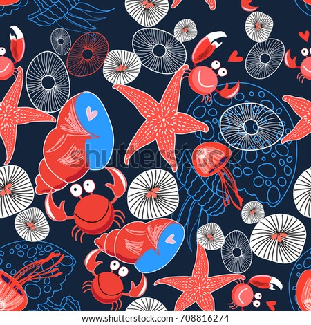 Seamless graphic marine pattern enamored crabs and stars on a dark background