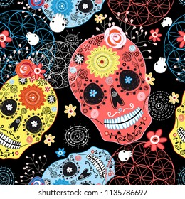 Seamless graphic pattern from cheerful ornamental skulls on a dark background