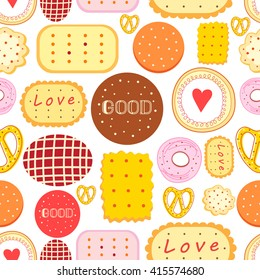 Seamless graphic pattern with delicious cookies on a white background