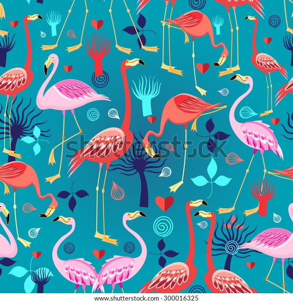 Seamless graphic pattern of flamingos in love among the trees