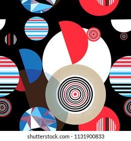 Seamless graphic pattern of geometric circular design elements