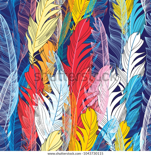 Seamless graphic pattern miracle multicolored feathers on a dark background