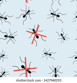 Seamless graphic pattern for packaging from ants on a light background