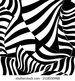 Seamless graphic striped pattern of black and white stripes abstract fantasy. An example for wallpaper or fabric.