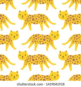 Seamless graphic walking wild cats repeat pattern design.