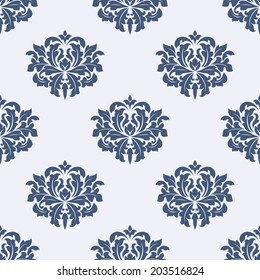 Seamless gray colored floral arabesque pattern in damask style motifs suitable for wallpaper, tiles and fabric design isolated over colored background