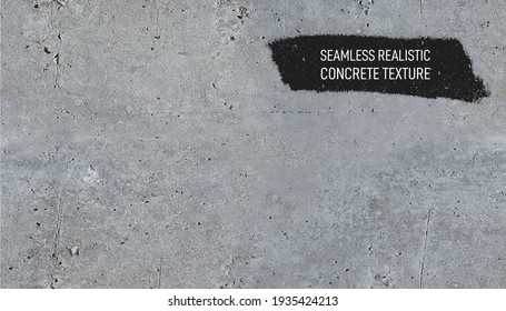 Seamless gray concrete texture. Stone wall background. Horizontal grunge texture background with space for text or image. Realistic vector illustration. Isolated on white background.