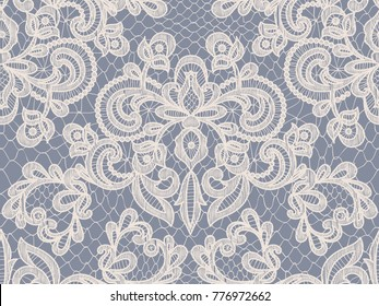 Seamless gray lace background with floral pattern