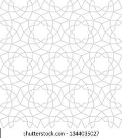 Seamless gray oriental pattern. Islamic background. Arabic linear texture. Vector illustration