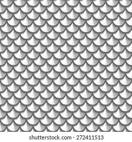 Seamless gray scale river fish scales. Dragon scale. Simple background for design. Vector illustration eps 10