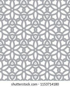 Seamless gray vector pattern in geometric ornamental style