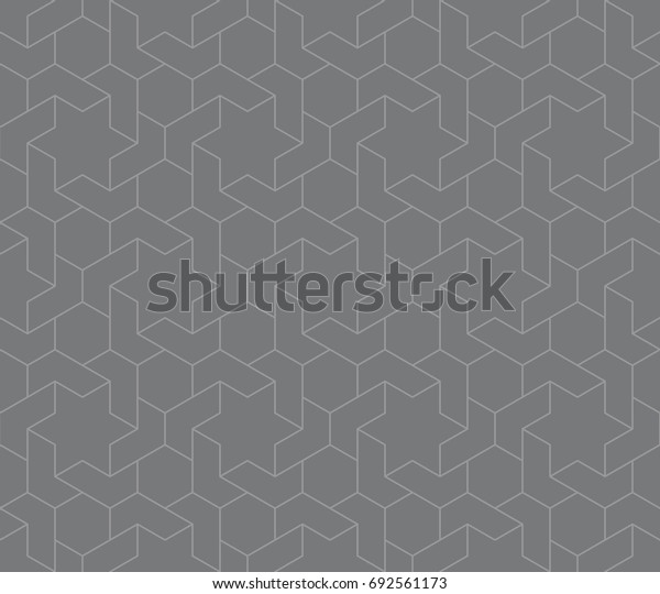 Seamless gray vintage islamic hexagons and stars interlocking outline pattern vector