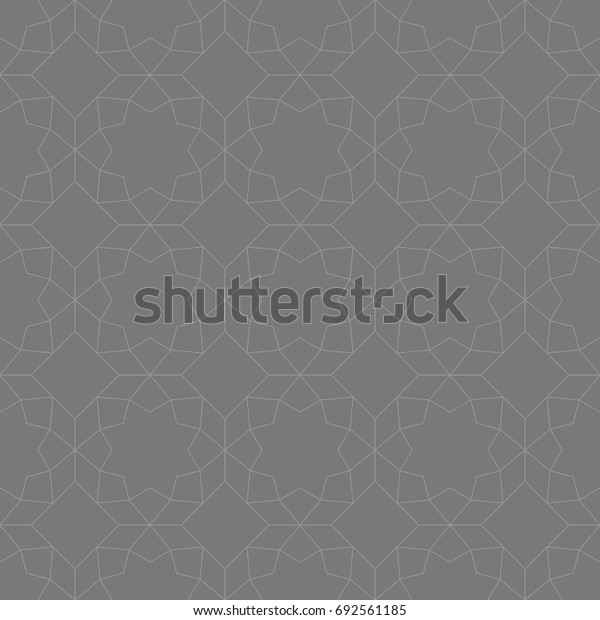 Seamless gray vintage islamic octagonal ornamental outline pattern vector