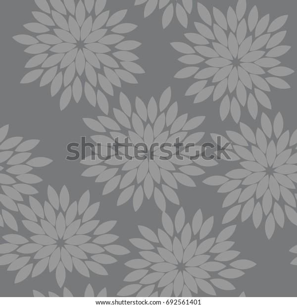 Seamless gray vintage japanese floral kimono tenugui textile pattern vector