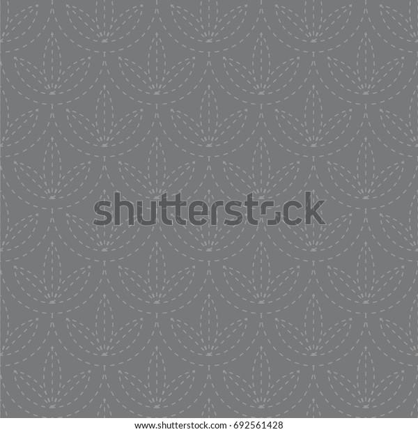 Seamless gray vintage japanese sashiko kimono pattern vector