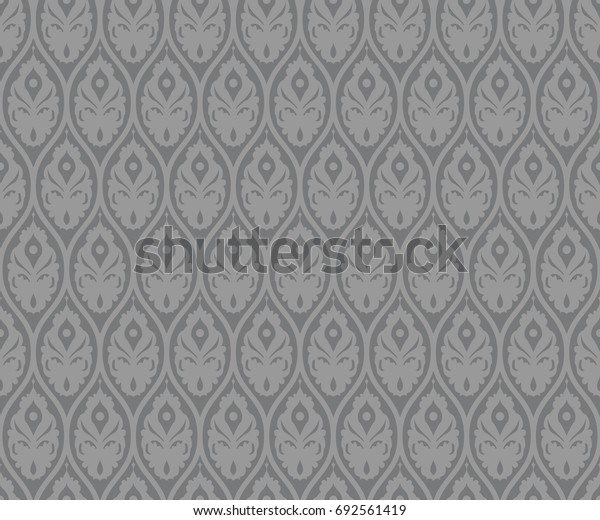 Seamless gray vintage medieval ogee ornament pattern vector