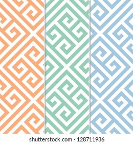 Seamless Greek Key Background Pattern in Three Color Variations