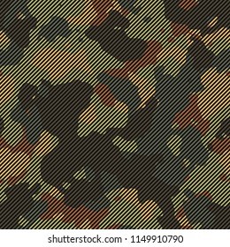 Seamless green and brown striped camo textile pattern vector