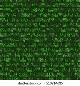 Seamless Green Decimal Computer Code Background Wallpaper. Vector