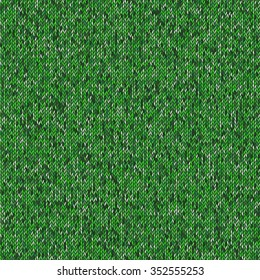 Seamless green knitting pattern. Woolen cloth knitted background. Vector illustration EPS10