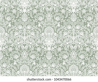 Seamless green lace background with floral pattern