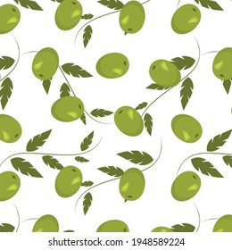 Seamless green olive pattern. Vector background. Nature