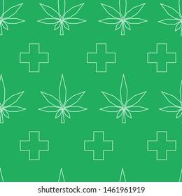 Seamless green patteren with medical marijuana.