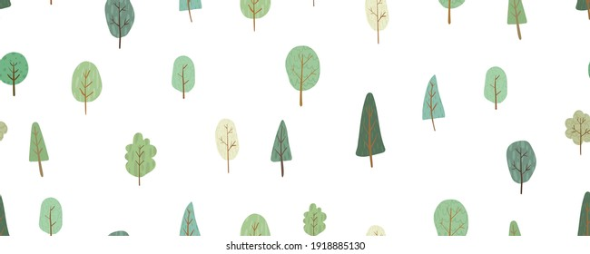 Seamless green pattern with different trees. Hand drawn nature background for your design
