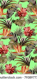 Seamless green pattern with tropical exotic flowers and leaves. Vintage colorful pattern with plants. Bright summer pattern.