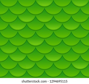 Seamless green reptile scale texture. Realistic snake skin pattern vector illustration.