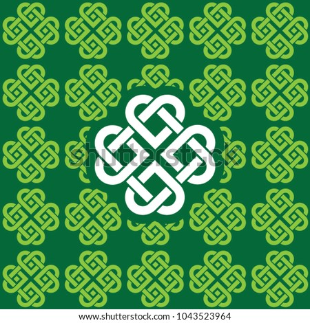 Seamless green shamrock pattern made of Celtic knots. Pattern color patch included.