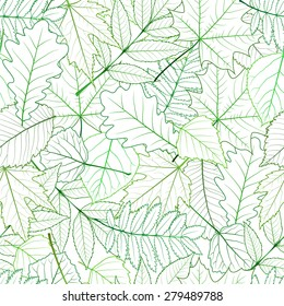 Seamless with green spring leaves. vector illustration