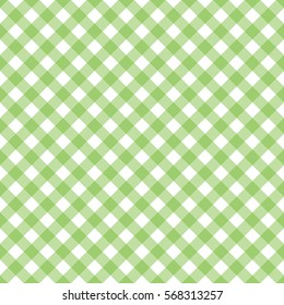Seamless green and white gingham pattern. Diagonal check print.