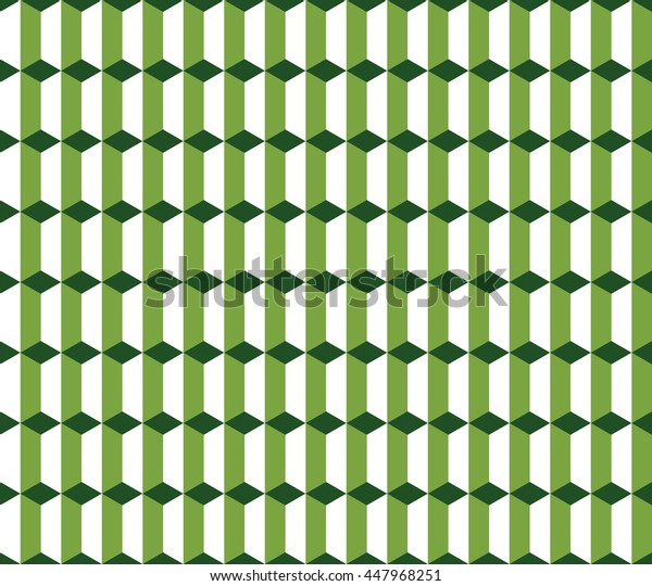 Seamless green and white vintage isometric columns pattern vector