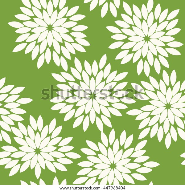 Seamless green and white vintage japanese floral kimono tenugui textile pattern vector
