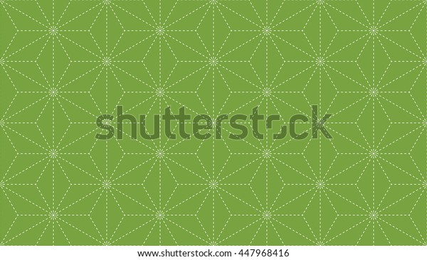 Seamless green and white vintage japanese asanoha stitched textile pattern vector