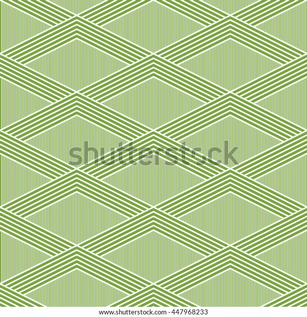 Seamless green and white vintage op art diamond illusion pattern vector