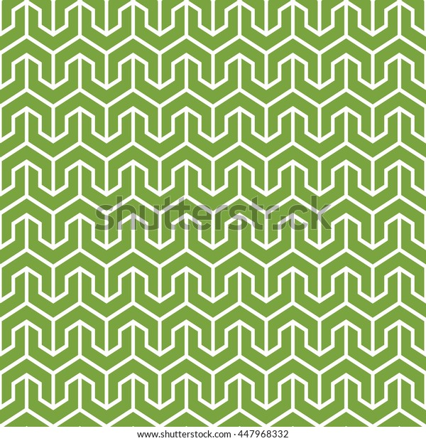Seamless green and white vintage oriental isometric geometrical pattern vector