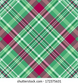 Seamless green-purple checkered pattern with diagonal translucent thin strips (vector eps 10)