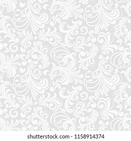Seamless grey background with white pattern in baroque style. Vector retro illustration. Ideal for printing on fabric or paper for wallpapers, textile, wrapping.