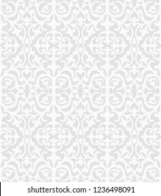 Seamless grey background with white pattern in baroque style. Vector retro illustration. Islam, Arabic, Indian, ottoman motifs. Perfect for printing on fabric or paper.