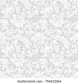 Seamless grey background with white pattern in baroque style. Vector retro illustration. Ideal for printing on fabric or paper.