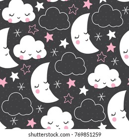 seamless grey clouds and moons pattern vector illustration